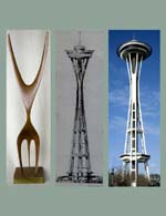 Victor Steinbrueck perceived a tension in the David Lemon sculpture that could benefit the Needle's form. Included here is Lemon's sculpture, Steinbrueck's preferred Needle form, and today's Space Needle.