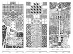 (left): Le Corbusier Ville pour 3 million d'habitants, 1922, from Oeuvre completes 1910-1929, combined with Le Corbusier Plan voisin for Paris, 1922; figure ground plan from Beziehungen by Tomas Valena, Ernst and Sohn, Berlin, 1994; (center): Le Corbusier La ville Radieuse, 1933, from La ville Radieuse, 1933; (right): From Albert Speer: Architecture 1932-42, ed. Leon Krier, AAM Editions, 1985, Reprint Monacelli, 2013.