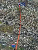 The urban ditch of I-95 is responsible for noise pollution and reduced property values in the Bronx, New York.
