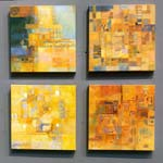 "Irma Ostroff: Untitled, 2015-16; oil on linen; 20"" x 20"" each"