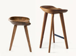 Tractor Stools in solid carved walnut