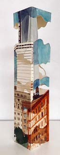 """West Broadway & Duane Street, 10""""x2"""" squared, 2013 (clouds skittering across nearly completed 1 WTC)."""
