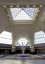 The soaring rotunda of the Frank R. Lautenberg Rail Station at Secaucus Junction