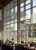 Swarthmore College Unified Science Center: Commons interior with fritted glass panels