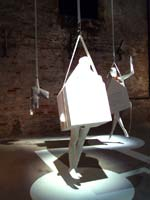 Droog's Singletown looks a bit scary – strung up from the ceiling, gleaming life-size models hover, casting ominous shadows.